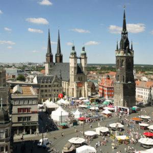 Ist die am höchsten verschuldete Stadt Sachsen-Anhalts: Halle (Saale).