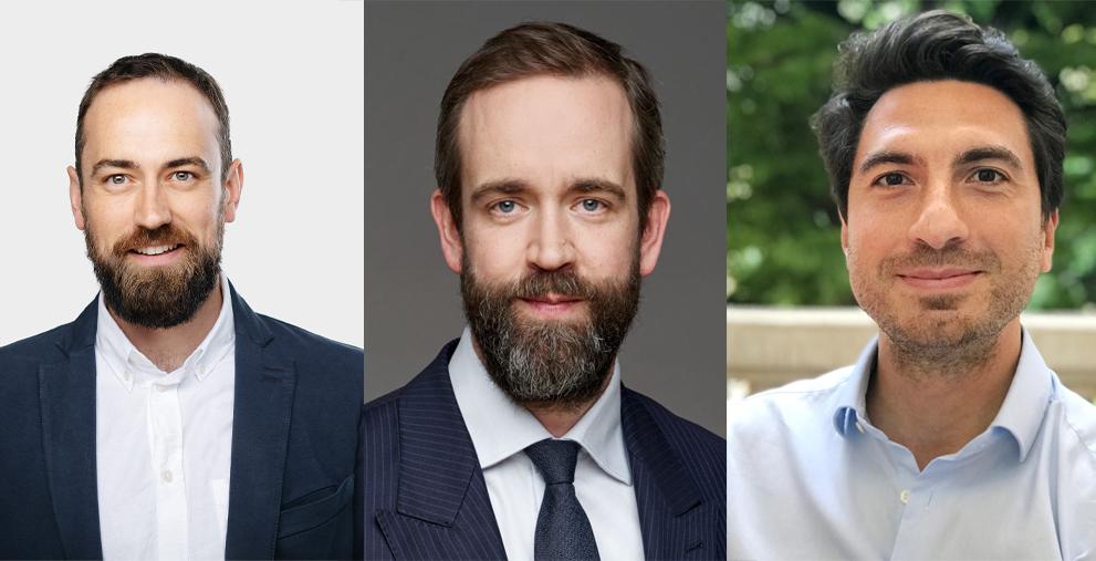 Die Finanzplattform Loanboox hat ihre Führungsebene neu aufgestellt: Alex Lawrence ist Chief Revenue Officer, Stefan Mühlemann Präsident des Verwaltungsrats und Philippe Cayrol neuer CEO (von links).