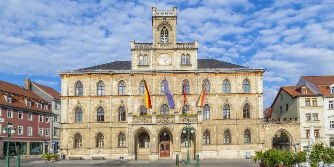 Das Rathaus in Weimar: Nach den neuen Plänen der Landesregierung wird die Stadt ihre Kreisfreiheit behalten.