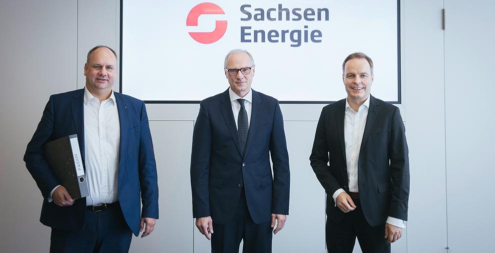 Haben die Gründung der Sachsen Energie verkündet: der Dresdner OBM Dirk Hilbert mit dem Aufsichtsratsvorsitzenden der KBO, Mike Ruckh, sowie Frank Brinkmann, Vorstandsvorsitzender Enso und Sprecher der Geschäftsführung Drewag (v.l.).
